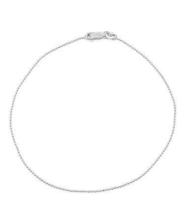 Look at this #zulilyfind! Sterling Silver Diamond-Cut Ball Chain Anklet #zulilyfinds