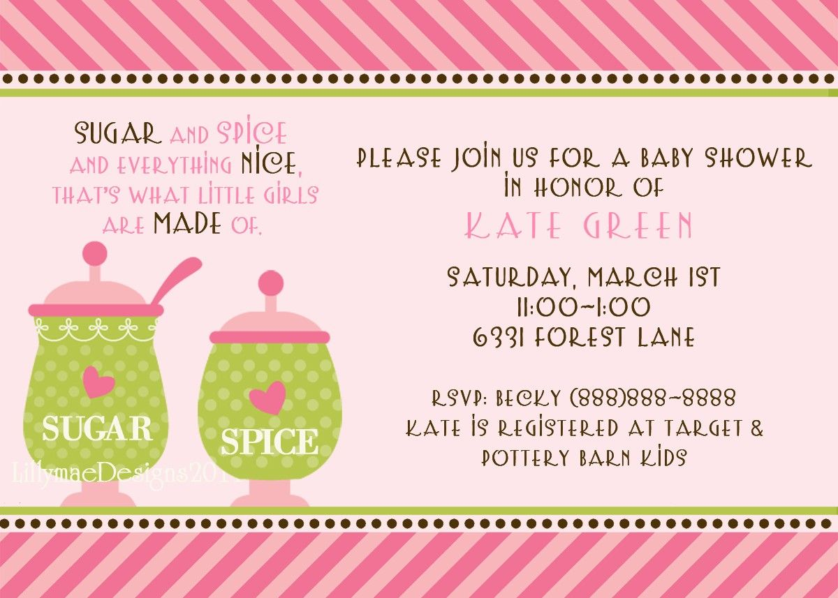 Sugar and Spice Baby Shower or Party Invitation. $13.00, via Etsy ...