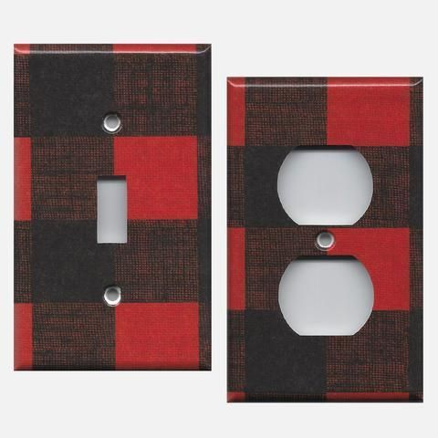 Photo of Red & Black Buffalo Plaid Woodland Nursery Light Switch & Outlet Covers