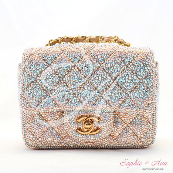 cf8d55e85828 Chanel Mini 2.55 Flap Bag Custom Swarovski Crystal Embellishment -  Strassing Service - Sophie & Ava