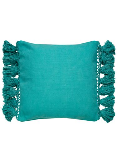 This Linen Pillow With Lush Tassels And An Airy Lattice Work Border Punches Up Elegant Throw Pillows Pillows Accessory Pillows