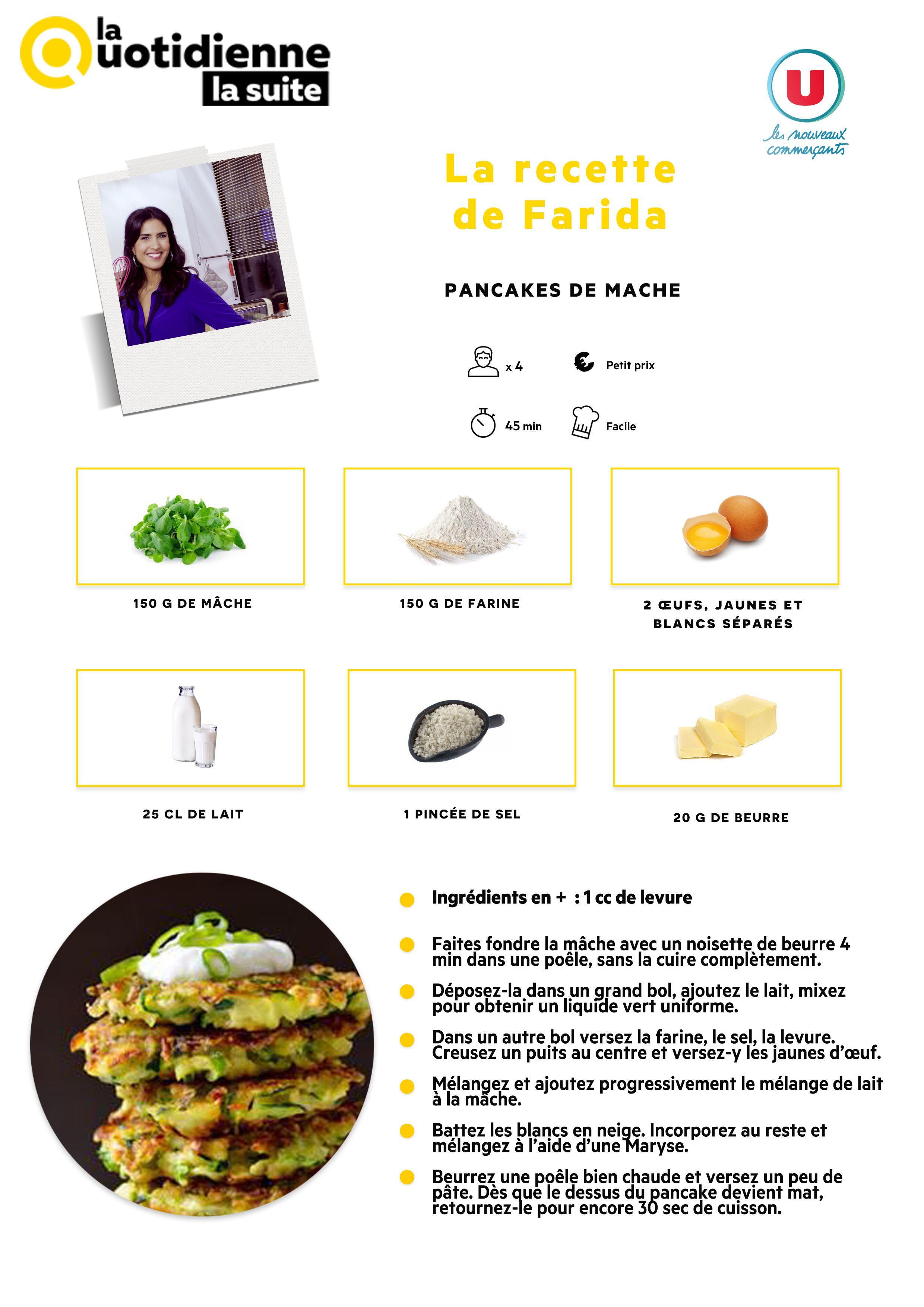 Retrouvez la recette de Farida : Pancakes de mâche ...