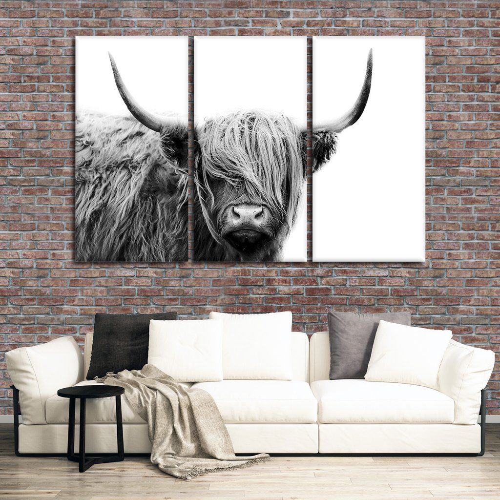 Highland Cow Multi Panel Canvas Wall Art Highland Cow Art Cow Canvas Highland Cow Canvas