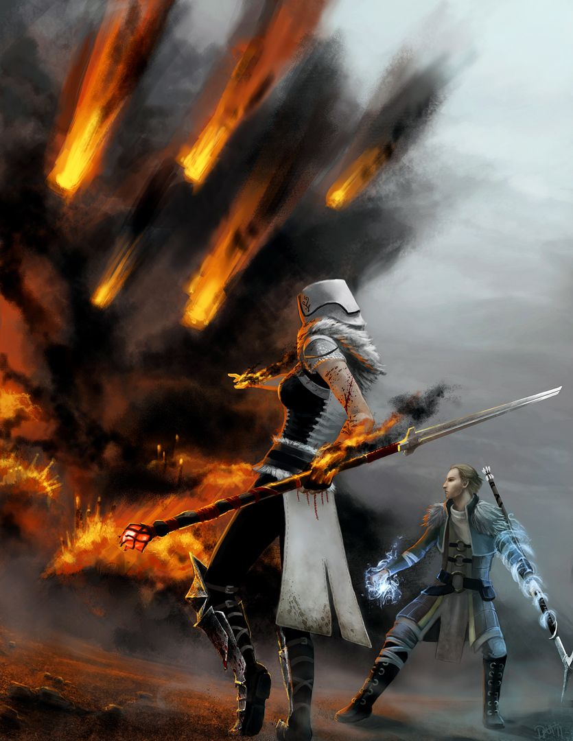 Anders and an unknown mage use their elemental magic. Dragon Age 2 ~Firestorm by ~lle-H on deviantART