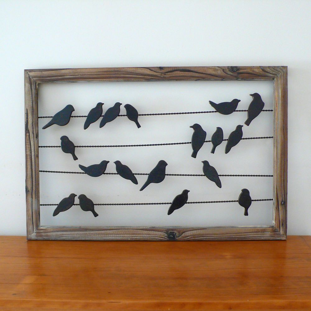 rustic french country metal u0026 wood birds on wire wall hanging art