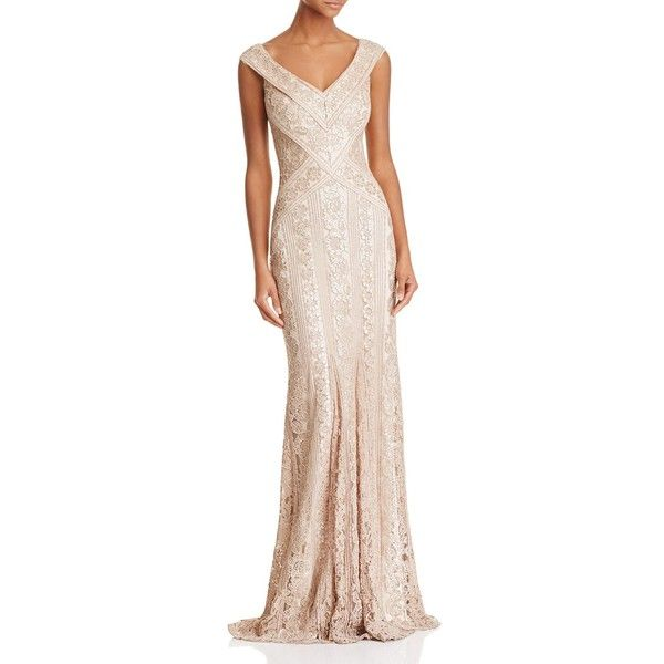 Tadashi Shoji Sequined Lace Gown ($540) ❤ liked on Polyvore ...