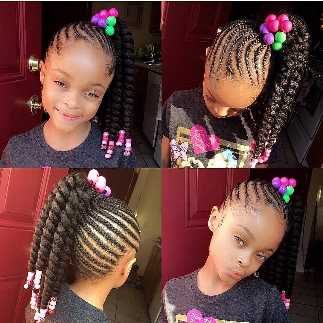 Braids Tybaby333 Kidshairstyle Cornrows Beads Brown Girls Hair