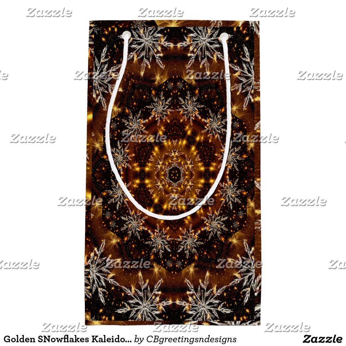Golden SNowflakes Kaleidoscope Small Gift Bag