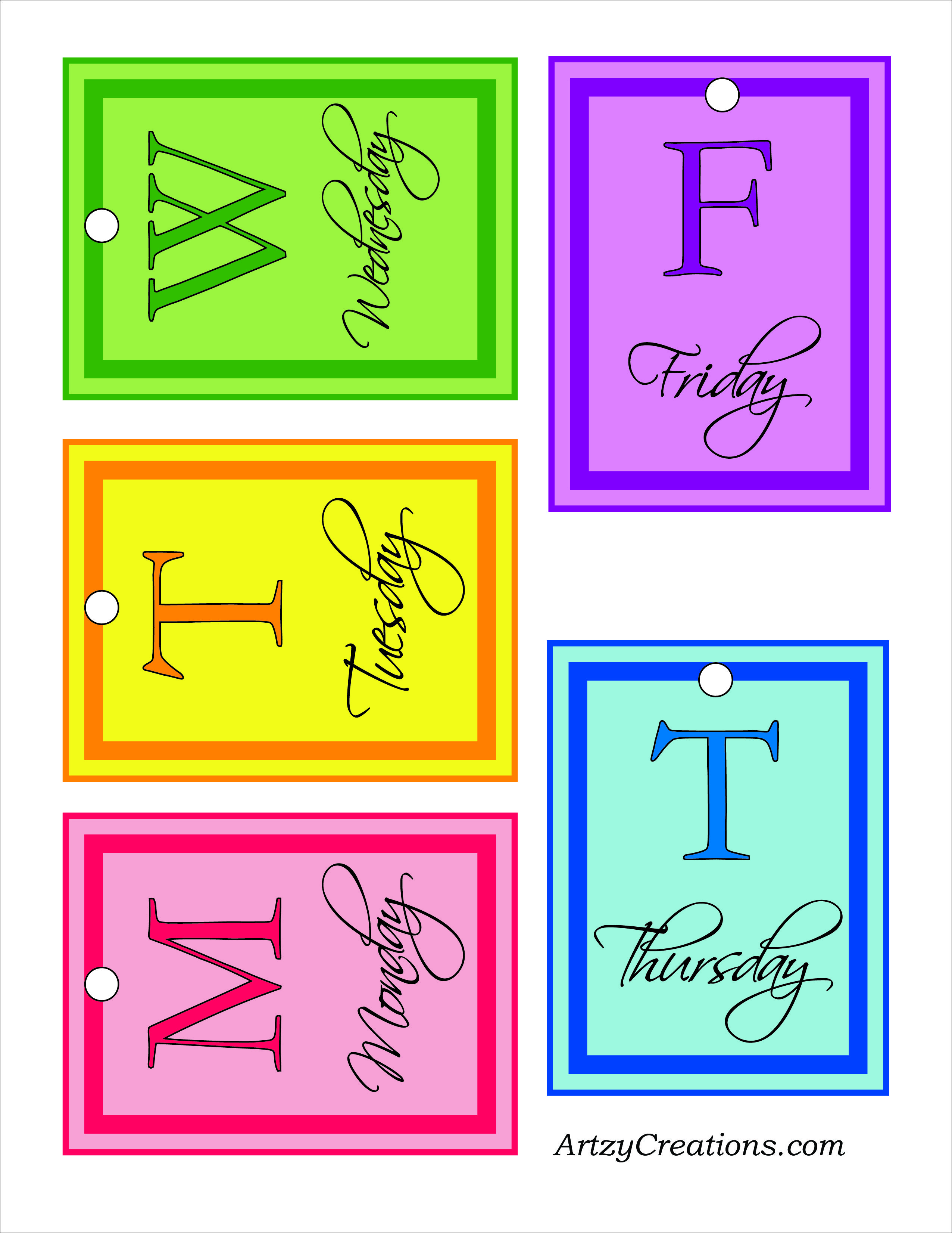 Cute Labels To Help Coordinate Outfits For The Week Pick Out Your Clothes On Sunday For The