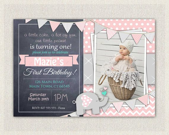 First Birthday Invitation Girls Pink Grey Elephant Download 1st Photo Invites C