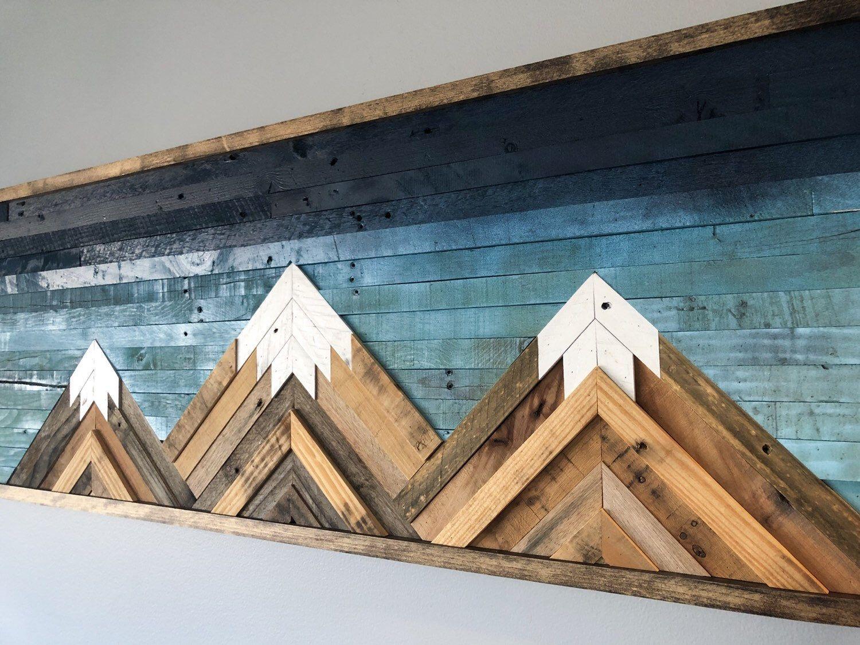 Mountain wood wall artdecor 48in x 16in etsy wood