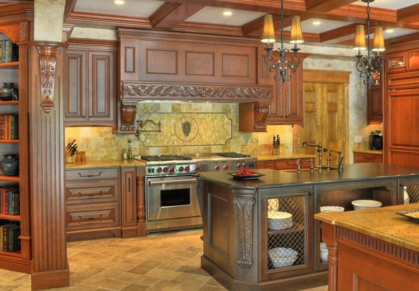 A Fancy Kitchen With Some Nice Elements Coffered Ceiling Good