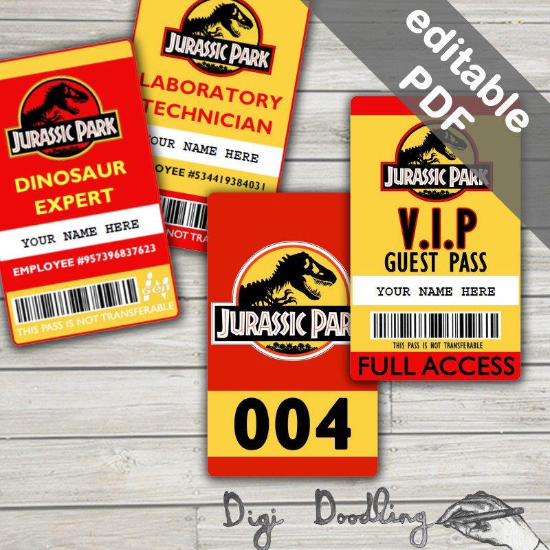 Jurassic World Map Pdf. Jurassic Park Costume  ID Badge Visitor Pass Vehicle Party