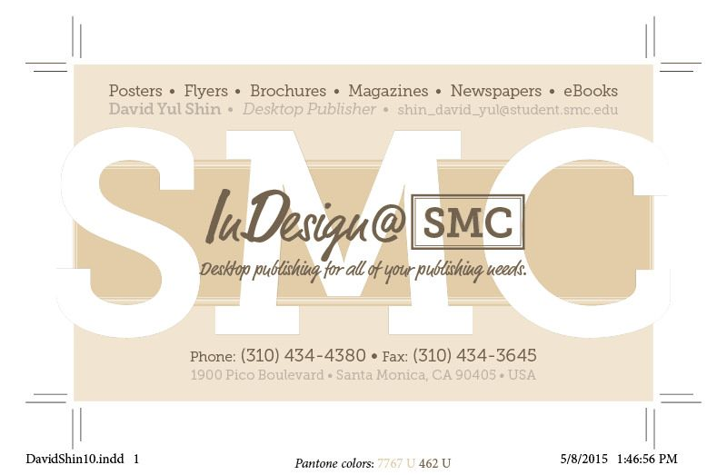 Indesignsmc business card design using two pantone spot colors created in adobe indesign at smc reheart Gallery