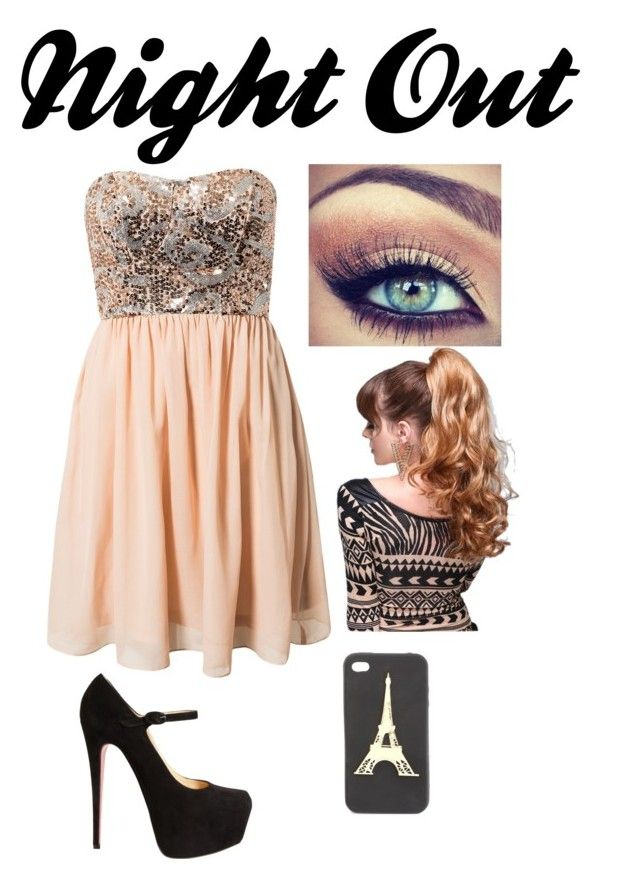 """""""Night Out"""" by annah-hart ❤ liked on Polyvore featuring Jeane Blush, Christian Louboutin and Charlotte Russe"""