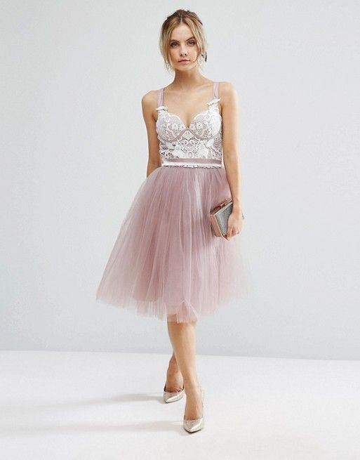 Chi Chi Petite Contrast Lace Corset Top Tulle Skirt Prom Dress ...