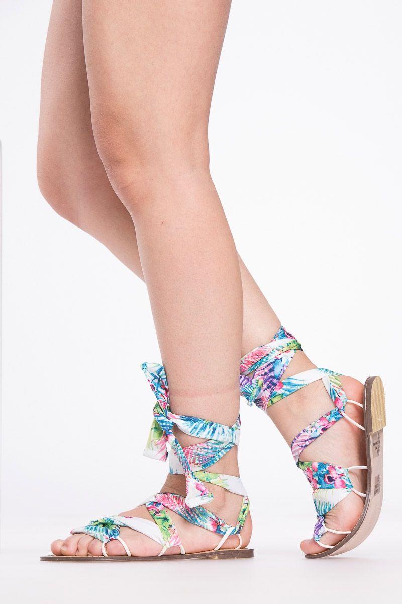 4fbd5c1d6 Blue Tropical Faux Suede Wrap Around Sandals @ Cicihot Sandals Shoes online  store sale:Sandals