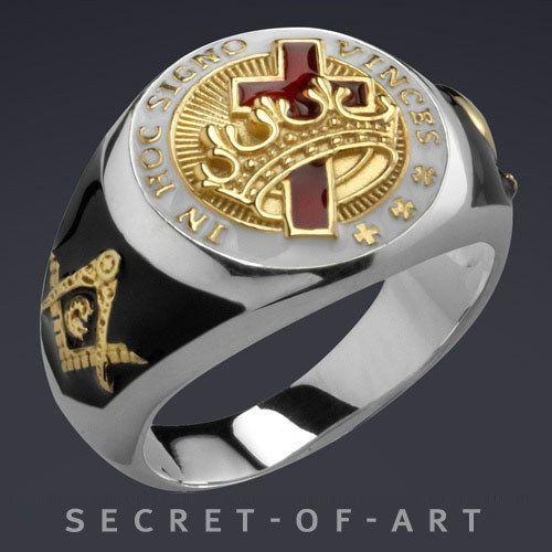 Knights Templar Masonic Ring Freemason 925 Silver With 24k Gold