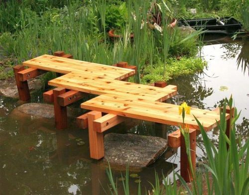 Simple Zigzag DIY Garden Bridge Without Railings. Japanese Garden  DesignChinese ...
