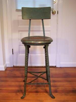 Vintage Industrial Machine Age Adjustable Steel Stool Steel Stool Vintage Stool Furniture