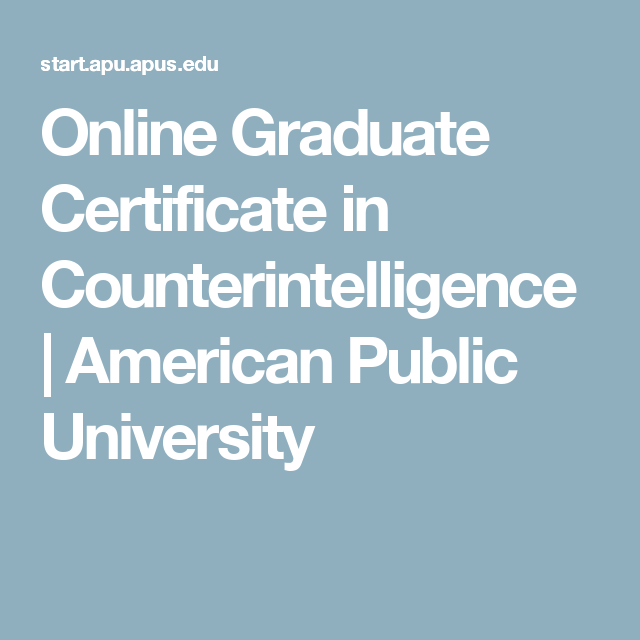 Online Graduate Certificate in Counterintelligence | American Public ...