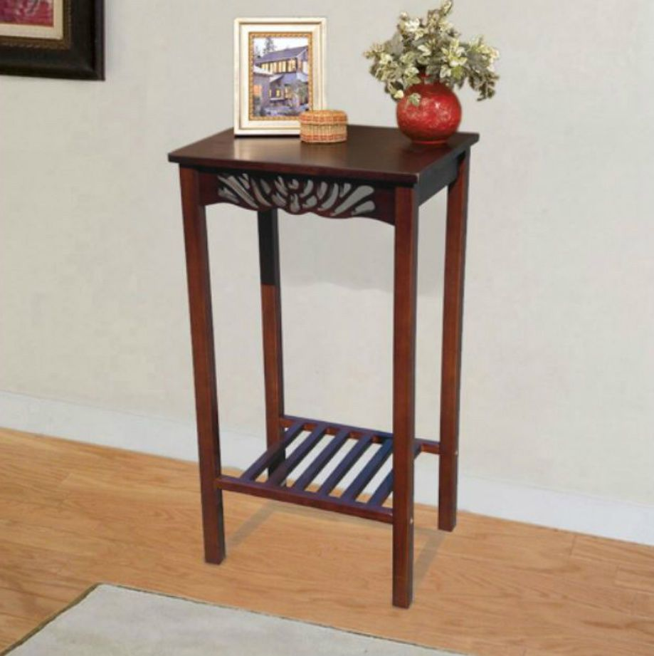 Tall End Table Solid Mahogany Wood Bedroom Hallway Home Office
