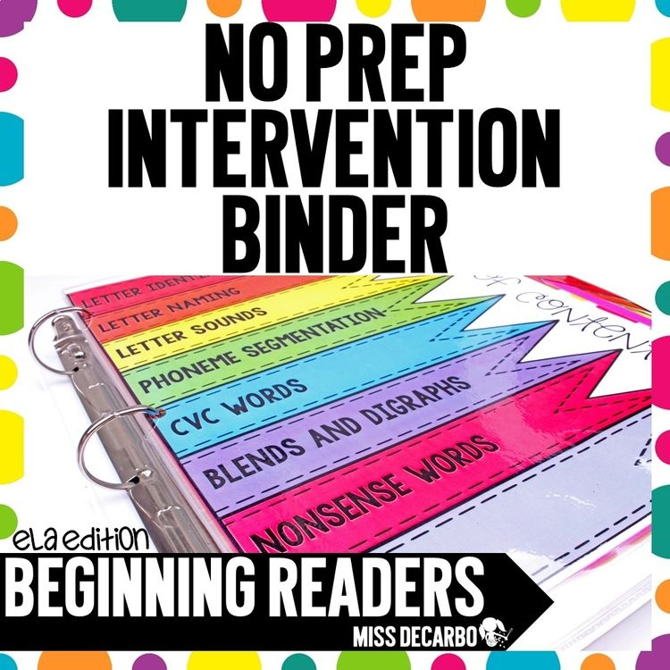 Reading Intervention Binder For Beginning Readers No Prep