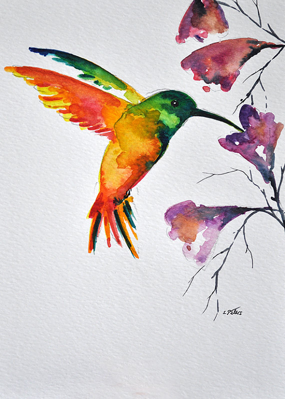 Original Watercolor Bird Painting Flying Rainbow Hummingbird With