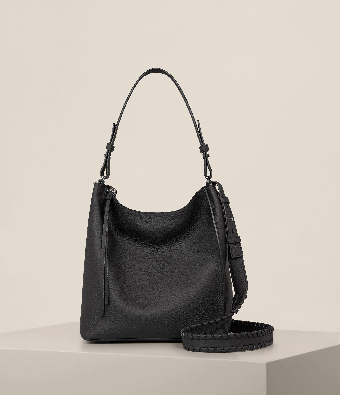 2a01185fe60 AllSaints Kita Crossbody Leather Pouch, Leather Shoulder Bag, Black Leather  Crossbody Bag, Crossbody