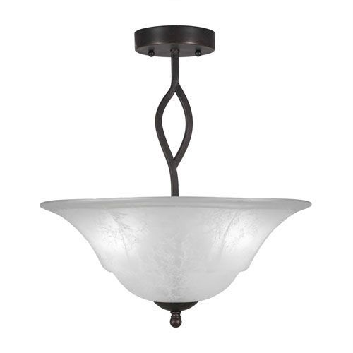 Revo Dark Granite Three-Light Semi-Flush with 16-Inch White Marble Glass