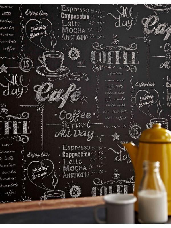 papier peint coffee shop noir et blanc graham brown rev tements muraux pinterest papier. Black Bedroom Furniture Sets. Home Design Ideas