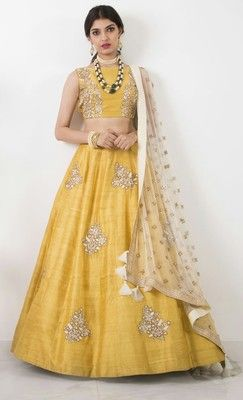 abf4e9e7eebbb9 yellow dupion silk embroidery unstitched Crop top lehenga choli at Mirraw