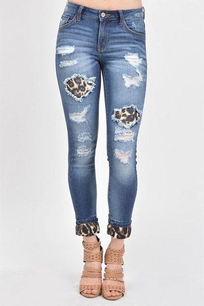 9ac4e1762e Stretch Ripped Leopard Print Patch Distressed Cutout Boyfriend Jeans-Blue   Leopard  Print