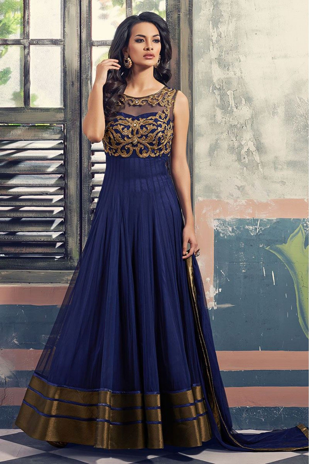 Georgette and net party wear anarkali suit in blue colour in
