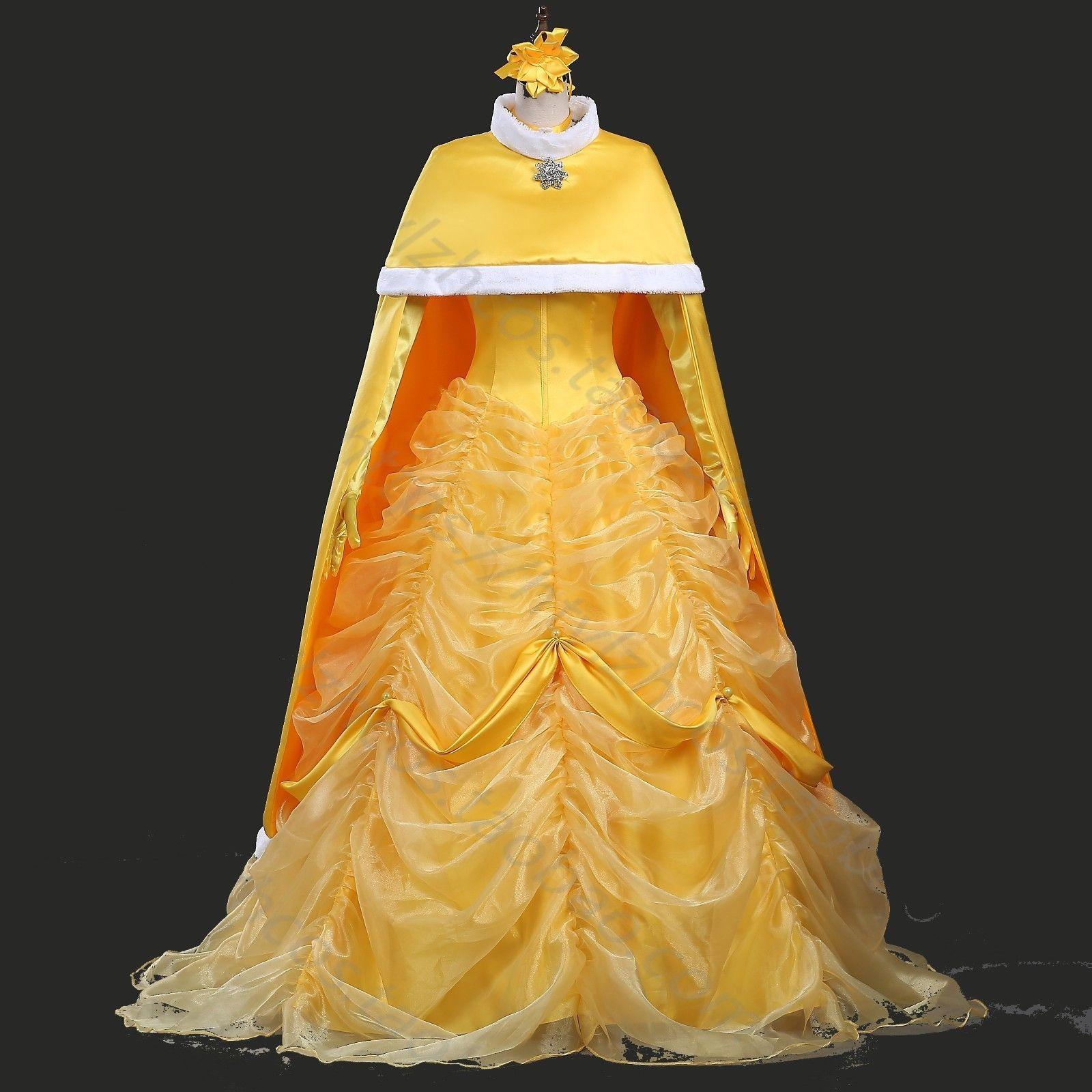 Yellow dress like belle  Women Princess Belle Costume The Beauty and The Beast Fancy Dress