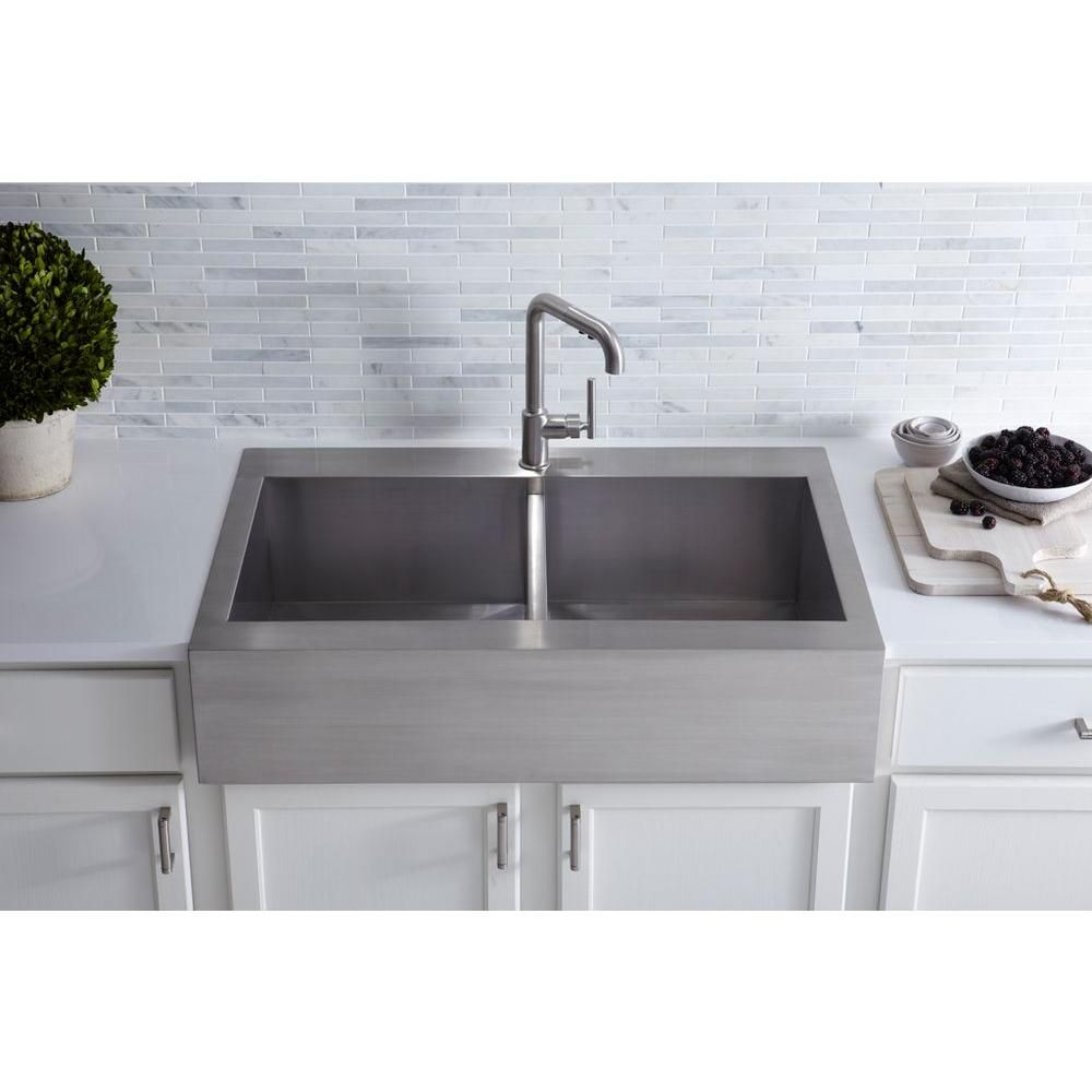 Kohler Vault Farmhouse Drop In Apron Front Self Trimming Stainless Steel 36 In 1 Hole Double Bowl Kitchen Sink K 3944 1 Na The Home Depot Kitchen Sink Decor Farmhouse Sink Kitchen Kitchen Remodel Drop in apron front sink