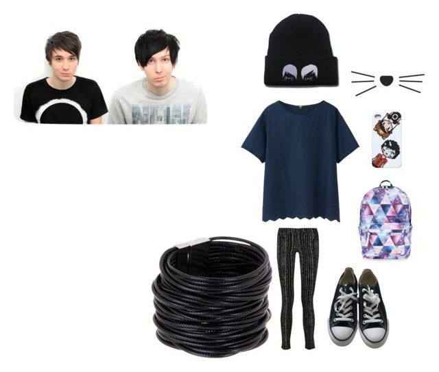 """""""dan and phil"""" by coolcat64265leeacoiron ❤ liked on Polyvore featuring Uniqlo, rag & bone, Converse, Accessorize and Saachi"""