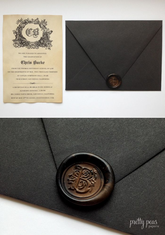 custom wax seal graduation invitation made with tea stained paper pretty peas paperie paper. Black Bedroom Furniture Sets. Home Design Ideas