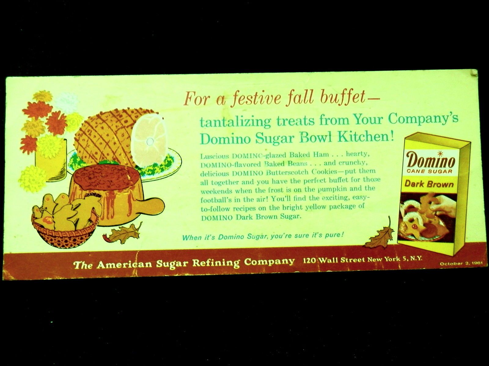 Advertising Blotter AMERICAN SUGAR REFINING CO New York DOMINO SUGAR Oct 2, 1961 | eBay