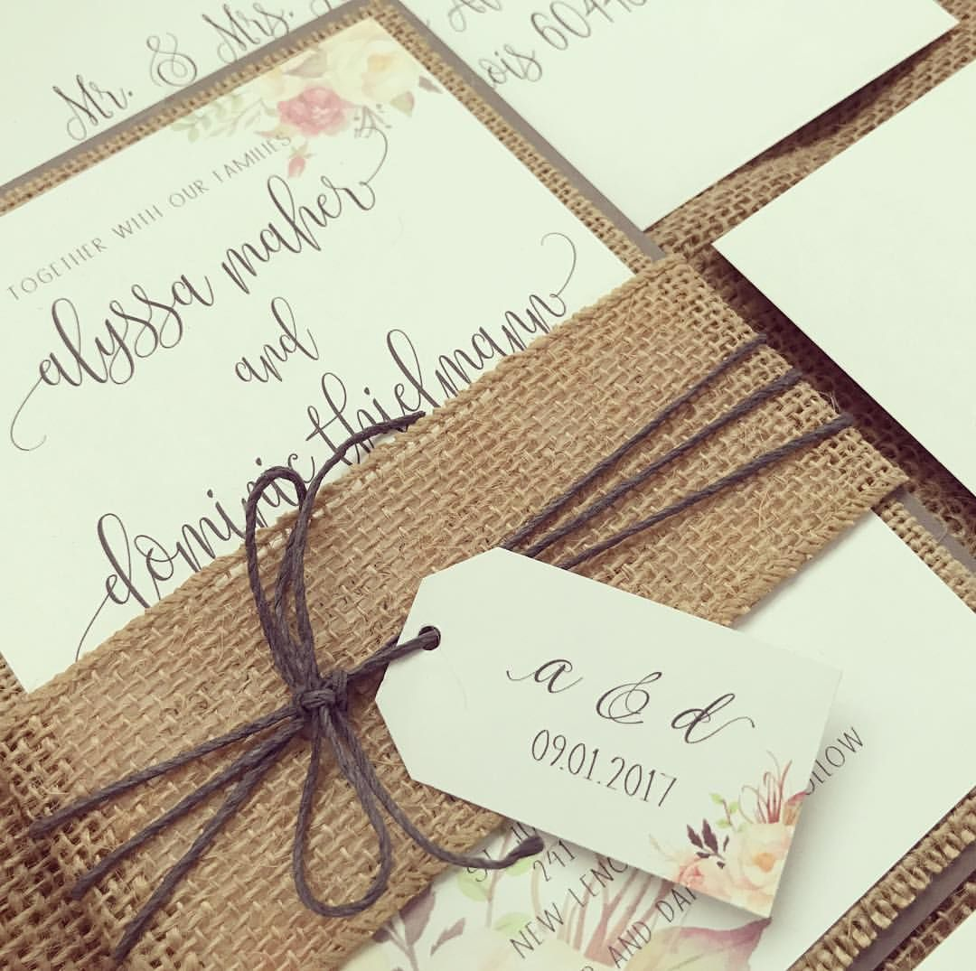 Rustic Elegant Wedding Invitation Set Rustic Wedding Invitation