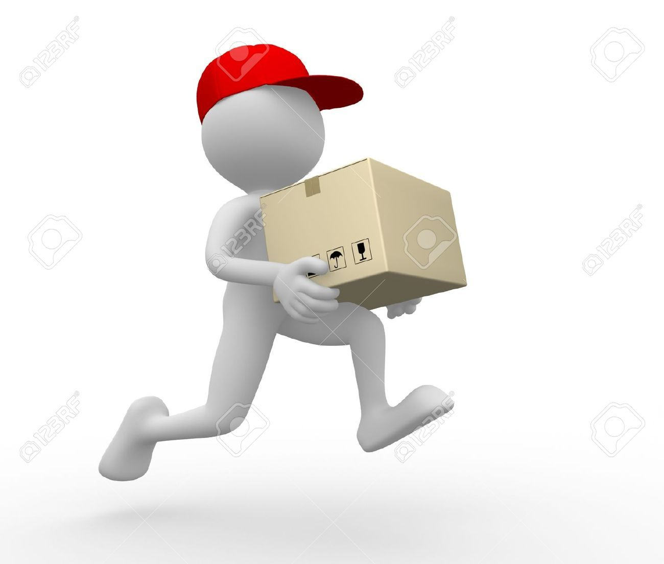 3d people - man, person with a package. Postman, delivery ...