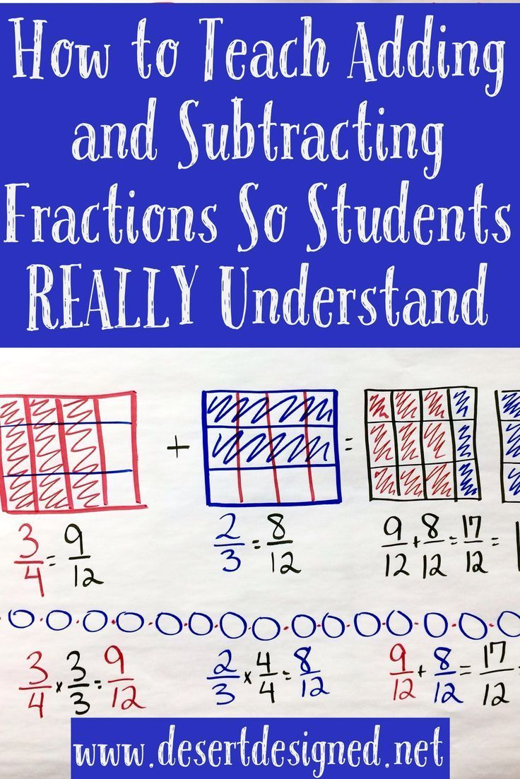 A great strategy for teaching students to add and subtract fractions in a  way they will real…   Teaching fractions [ 1103 x 736 Pixel ]