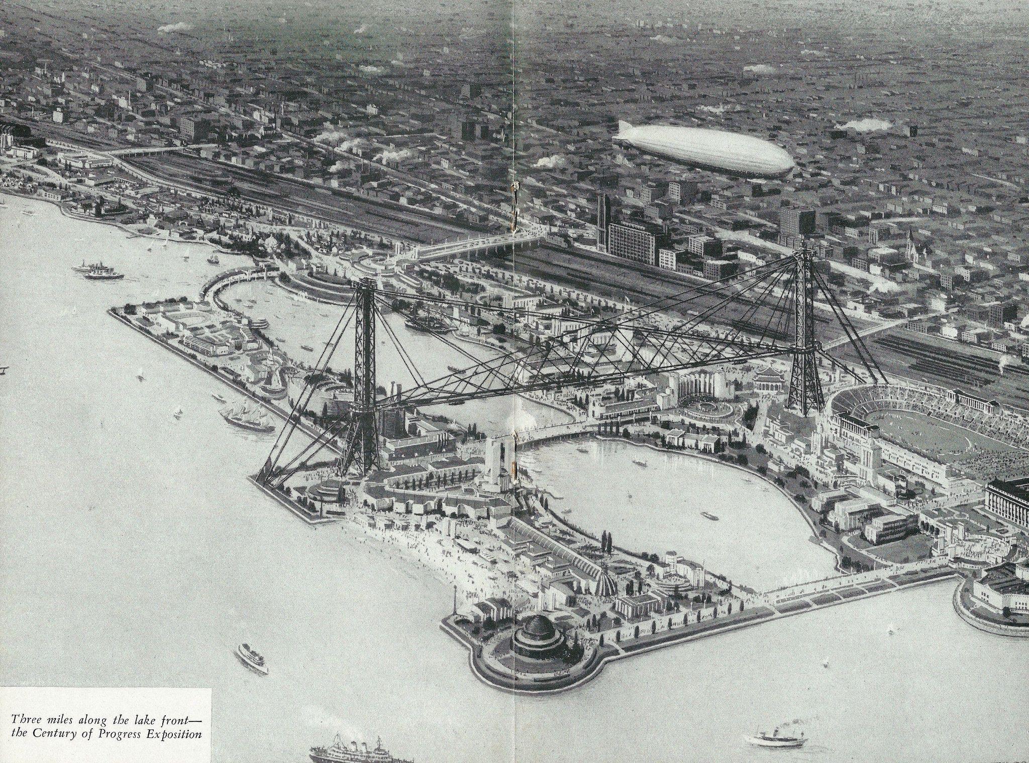 https://flic.kr/p/KmFKTc | The 1933 Century Of Progress Exposition Grounds (Chicago World's Fair) From The Burlington Railroad And A Century Of Progress Brochure