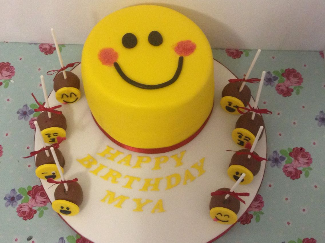 Emoji cake and cake popsperfect for a teenagers birthday