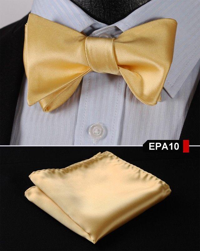 EPA10 GOLD Gravata Solid Bow Men tie 100%Silk Woven Party Classic Pocket Square Self Tie