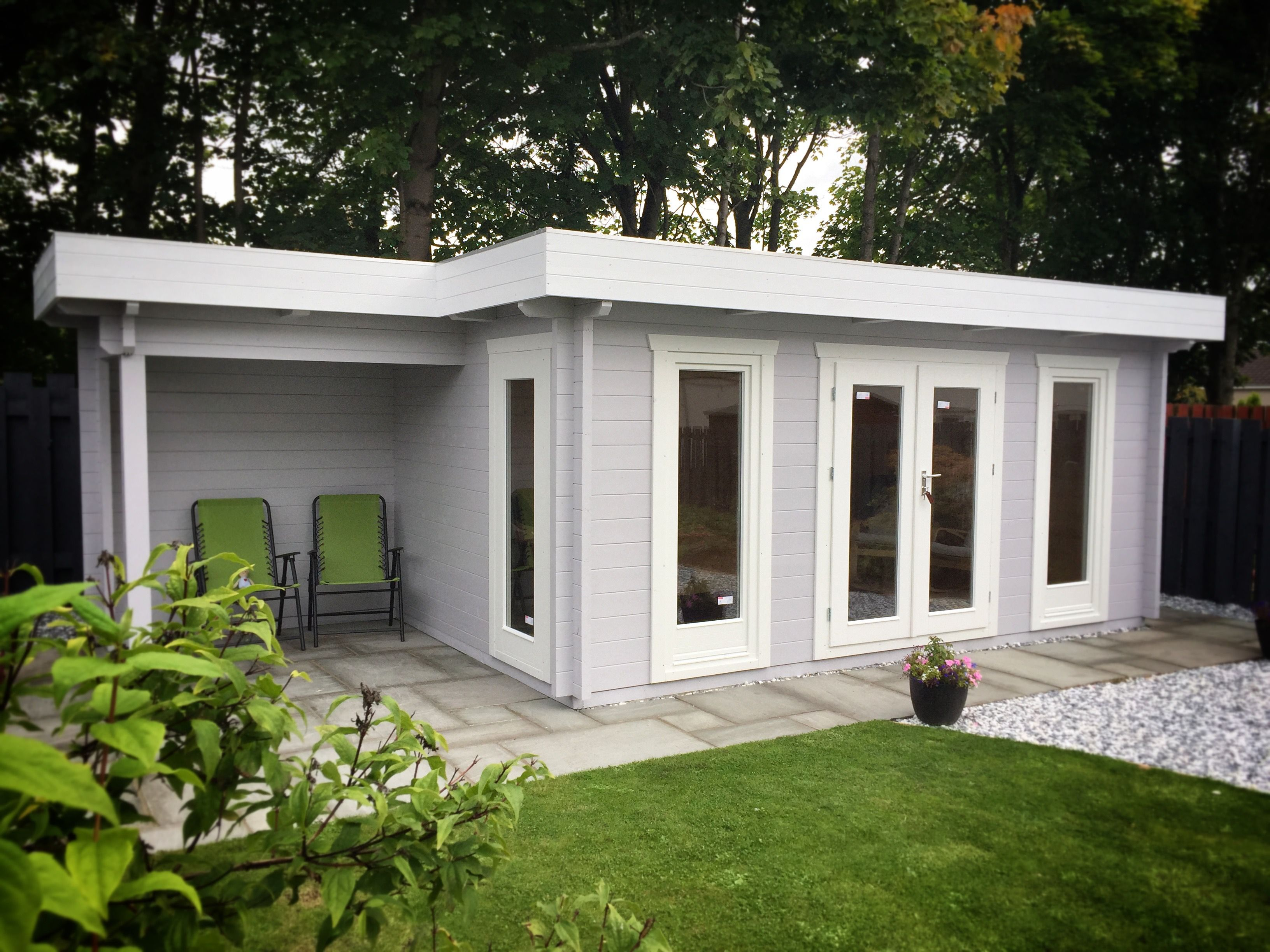 3m X 5m Flat Roof Log Cabin With 2m Canopy Extension