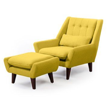 Kardiel Stuart Mid Century Modern Lounge Chair U0026 Ottoman, Dijon Cashmere  Wool