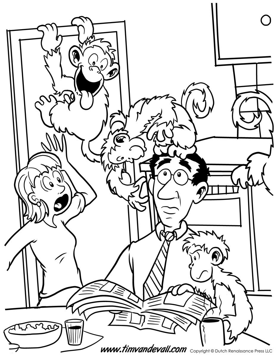 monkeys-in-the-kitchen-coloring-page.jpg (927×1200) | Раскраски 2 ...