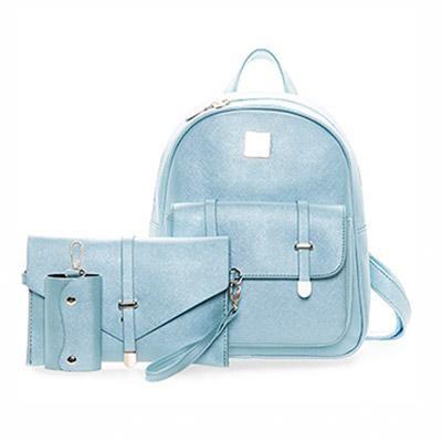 23aaa73bcc 3Pcs Set Small Women Backpacks female 2017 School Bags For Teenage Girls  Black PU Leather Women Backpack Shoulder Bag Purse Item Type  Backpacks  Style  ...