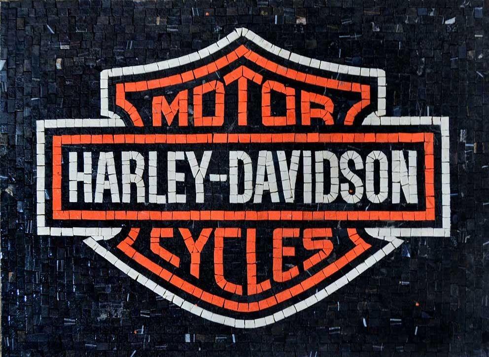 Harley Davidson Marble Mosaic Logo Mosaics And Craft 2x2 Ceramic Tile Refrigerator Magnet